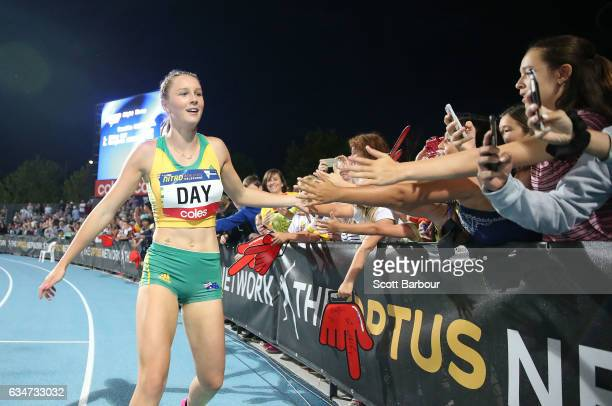 Riley Day of Australia celebrates winning the Womens 150 Metre Race during the Melbourne Nitro Athletics Series at Lakeside Stadium on February 11...