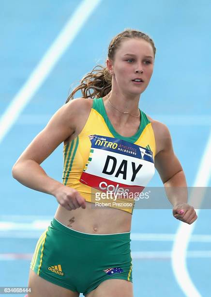 Riley Day of Australia competes in women 60 metre during the Melbourne Nitro Athletics Series at Lakeside Stadium on February 11 2017 in Melbourne...