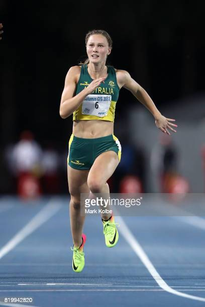 Riley Day of Australia finishes second in the Girls 100m Final during the Athletics on day 3 of the 2017 Youth Commonwealth Games at Thomas A...