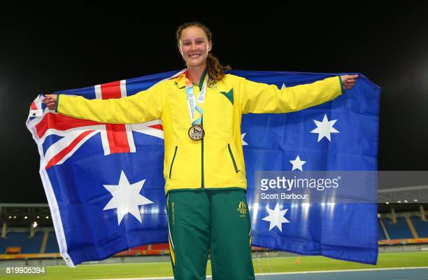 Riley Day of Australia poses after winning a silver medal in the Girls 1500m Final during the Athletics on day 3 of the 2017 Youth Commonwealth Games...