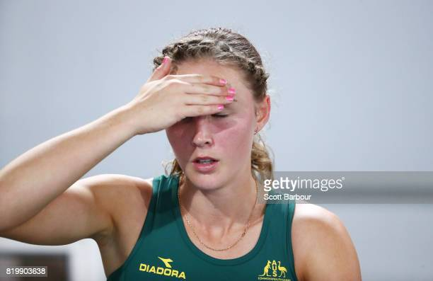 Riley Day of Australia reacts after finishing second in the Girls 1500m Final during the Athletics on day 3 of the 2017 Youth Commonwealth Games at...