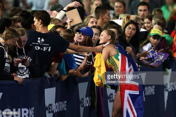 Riley Day of Australia thanks fans after competing in women 150 metre during the Melbourne Nitro Athletics Series at Lakeside Stadium on February 11...