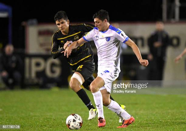 Riley Dillon of Gold Coast City in action during the FFA Cup round of 16 match between Moreton Bay United and Gold Coast City at Wolter Park on...