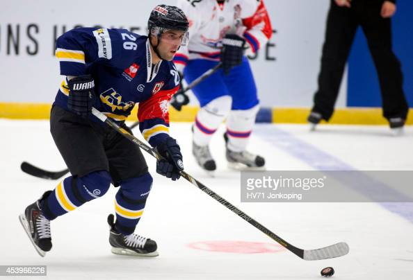 Riley Holzapfel of HV71 skates on the ice during the Champions Hockey League group stage game between HV71 Jonkoping and Kloten Flyers on August 22...