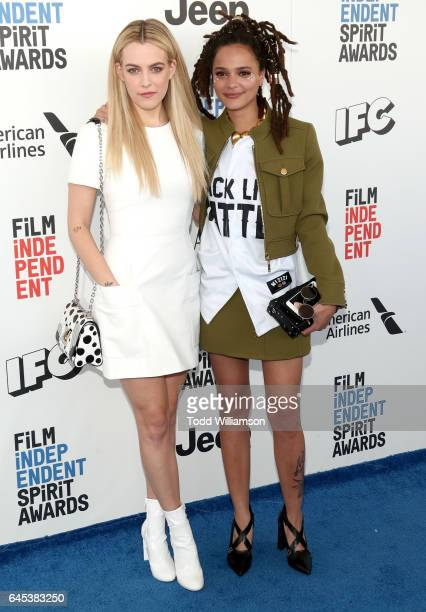 Riley Keough and Sasha Lane attend the 2017 Film Independent Spirit Awads on February 25 2017 in Santa Monica California