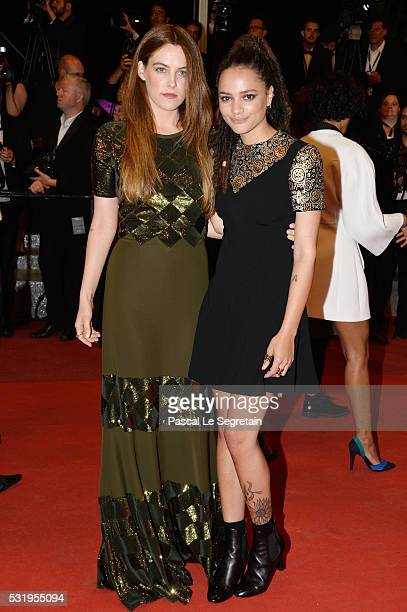 Riley Keough and Sasha Lane attend the 'Personal Shopper' premiere during the 69th annual Cannes Film Festival at the Palais des Festivals on May 17...
