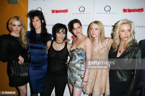 Riley Keough Floria Sigismondi Joan Jett Kristen Stewart Dakota Fanning and Cherie Currie attend New York Premiere Screening of 'THE RUNAWAYS' at...