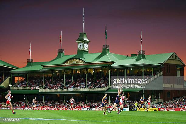 Riley Knight of the Crows takes a mark during the round 18 AFL match between the Sydney Swans and the Adelaide Crows at Sydney Cricket Ground on...