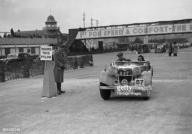Riley Lynx competing in the JCC Rally Brooklands Surrey 1939 Artist Bill BrunellRiley Lynx 1937 1496 cc Vehicle Reg No JD7593 Event Entry No 87 Place...
