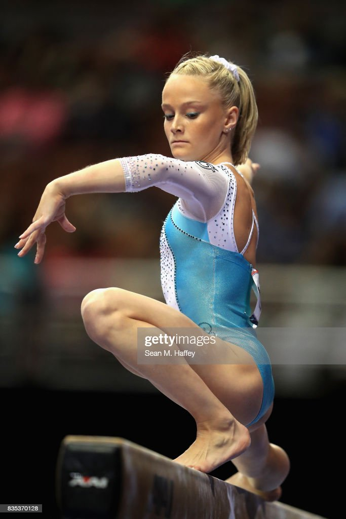 Riley McCusker competes on the Balance Beam during the P&G Gymnastics Championships at Honda Center on August 18, 2017 in Anaheim, California.