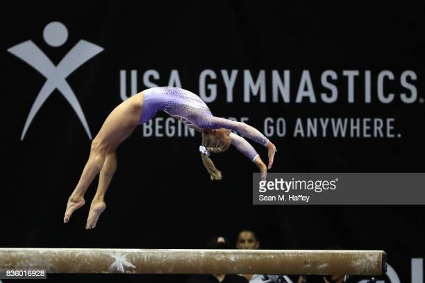 Riley McCusker competes on the Balance Beam during the PG Gymnastics Championships at Honda Center on August 20 2017 in Anaheim California