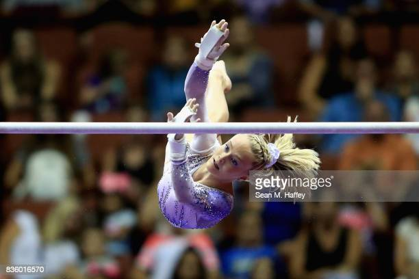 Riley McCusker competes on the Uneven Bars during the PG Gymnastics Championships at Honda Center on August 20 2017 in Anaheim California