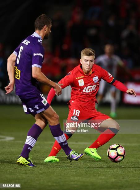 Riley McGree of Adelaide United tries to intercept a pass during the round 25 ALeague match between Adelaide United and Perth Glory at Coopers...
