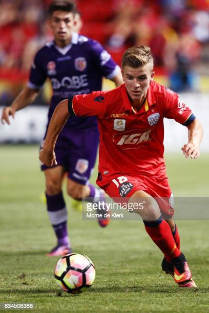 Riley McGree of Adelaide United wins the ball during the round 19 ALeague match between Adelaide United and Perth Glory at Coopers Stadium on...