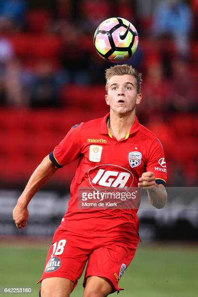 Riley McGree of Adelaide United wins the ball during the round 20 ALeague match between Adelaide United and the Newcastle Jets at Coopers Stadium on...