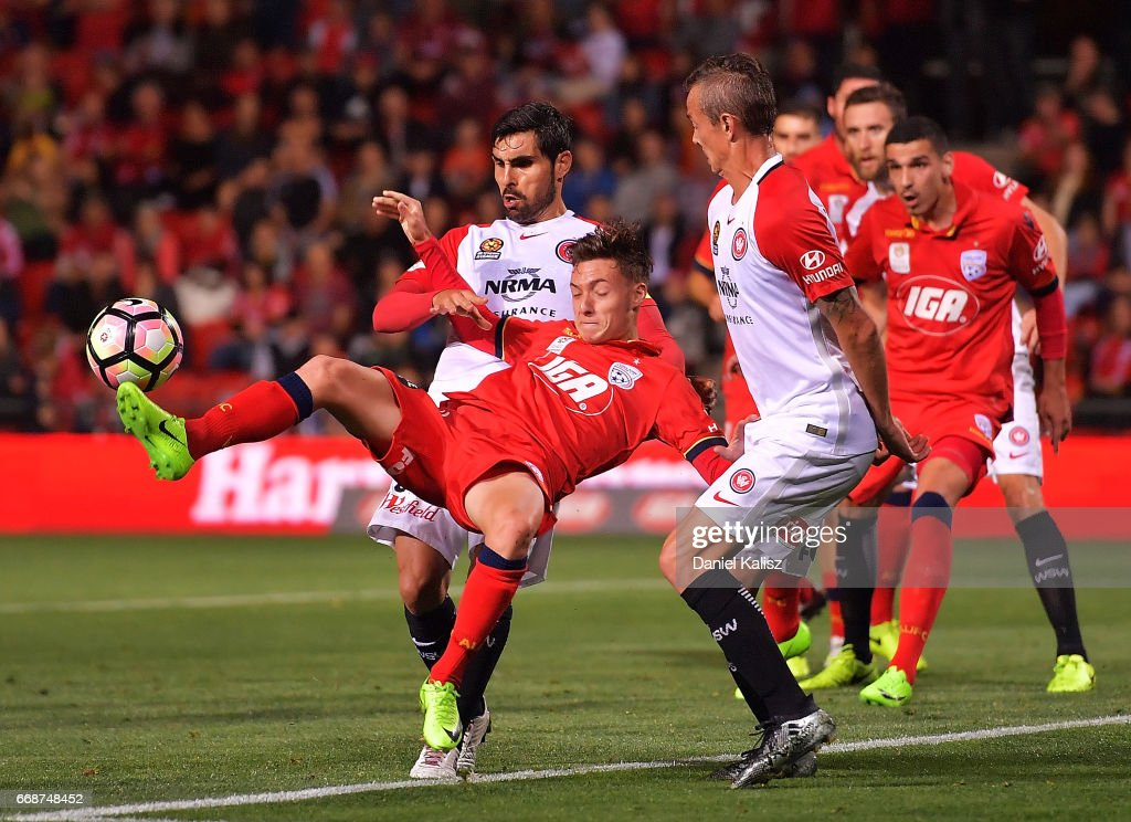 Riley McGree of United kicks the ball during the round 27 A-League match between Adelaide United and the Western Sydney Wanderers at Coopers Stadium on April 15, 2017 in Adelaide, Australia.
