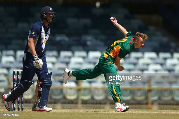 Riley Meredith of the Tigers bowls during the JLT One Day Cup match between Victoria and Tasmania at WACA on October 4 2017 in Perth Australia