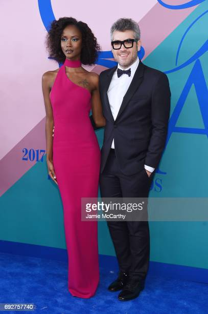 Riley Montana and Designer Brandon Maxwell attend the 2017 CFDA Fashion Awards Cocktail Hour at Hammerstein Ballroom on June 5 2017 in New York City