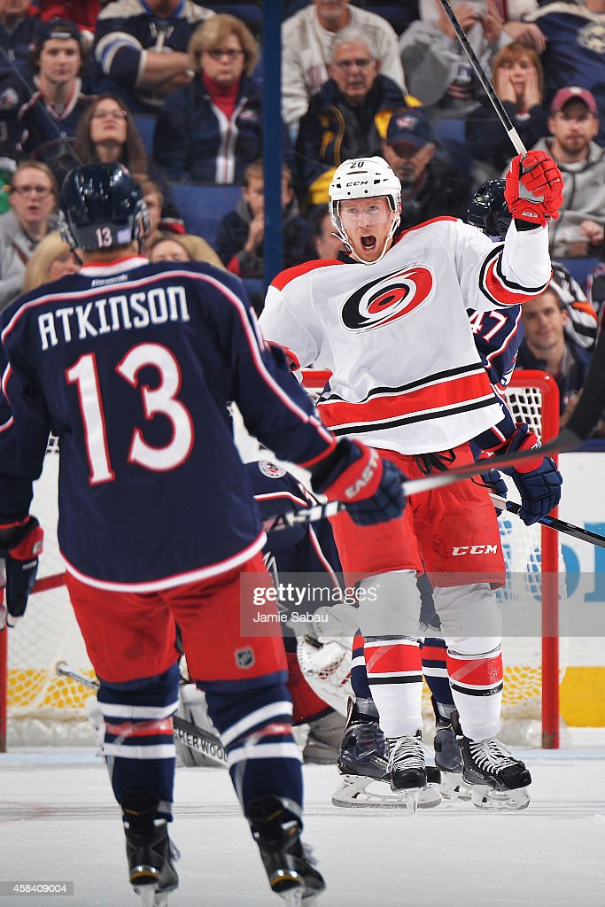Riley Nash of the Carolina Hurricanes celebrates after scoring a first period goal against the Columbus Blue Jackets on November 4 2014 at Nationwide...