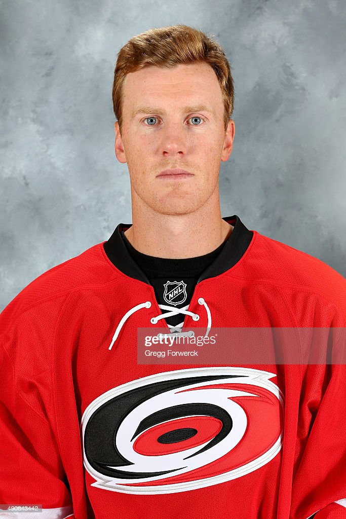 Riley Nash of the Carolina Hurricanes poses for his official headshot for the 20152016 season on September 17 2015 at Carolina Family Practice in...