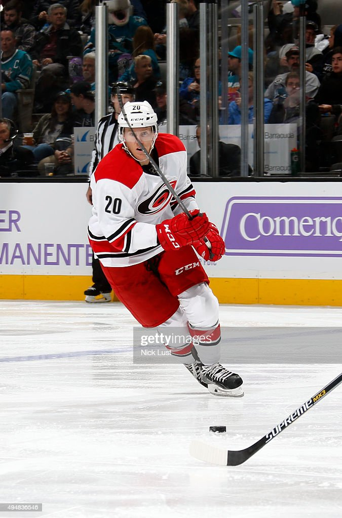 Riley Nash of the Carolina Hurricanes skates after the puck against the San Jose Sharks during a NHL game at the SAP Center at San Jose on October 24...