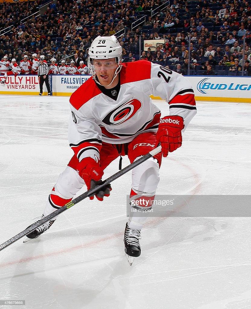 Riley Nash of the Carolina Hurricanes skates against the Buffalo Sabres on February 25 2014 at the First Niagara Center in Buffalo New York