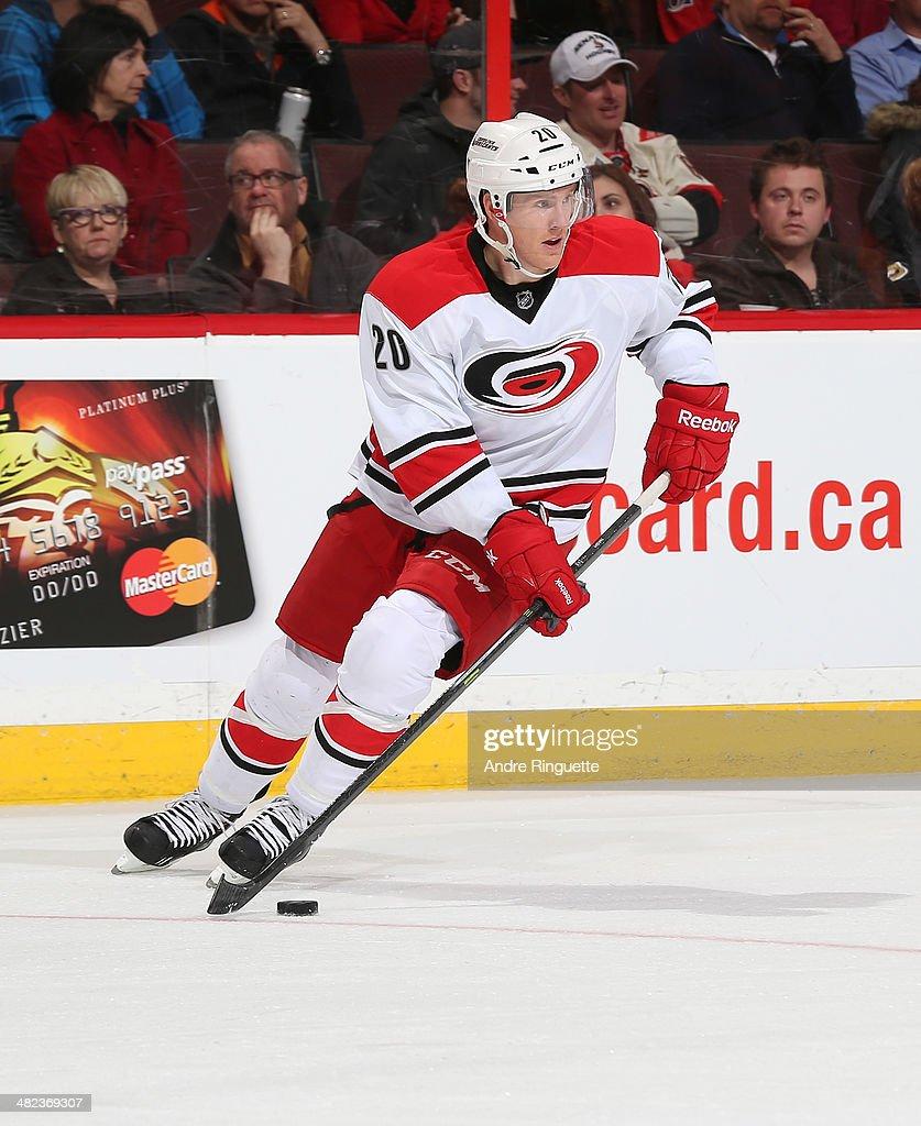 Riley Nash of the Carolina Hurricanes skates against the Ottawa Senators at Canadian Tire Centre on March 31 2014 in Ottawa Ontario Canada