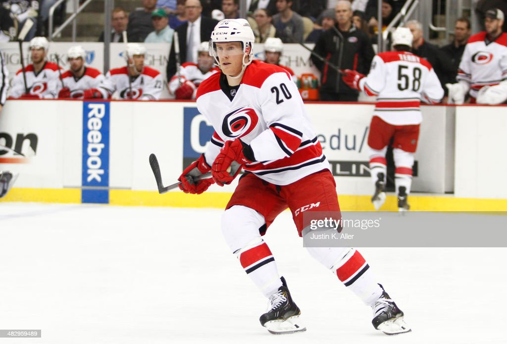 Riley Nash of the Carolina Hurricanes skates against the Pittsburgh Penguins during the game at Consol Energy Center on April 1 2014 in Pittsburgh...