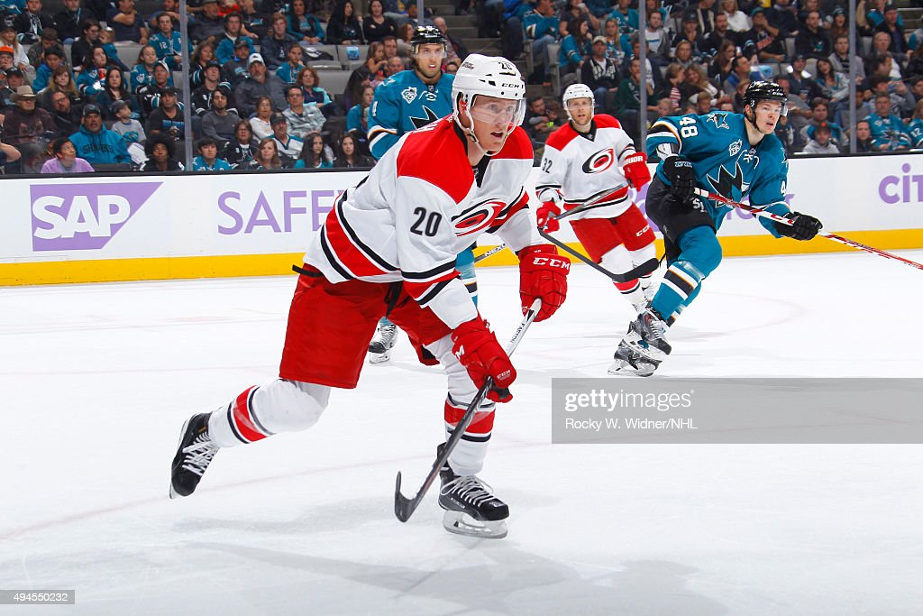 Riley Nash of the Carolina Hurricanes skates against the San Jose Sharks at SAP Center on October 24 2015 in San Jose California