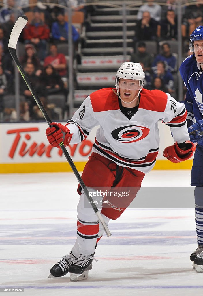Riley Nash of the Carolina Hurricanes skates during NHL game action against the Toronto Maple Leafs January 19 2015 at the Air Canada Centre in...