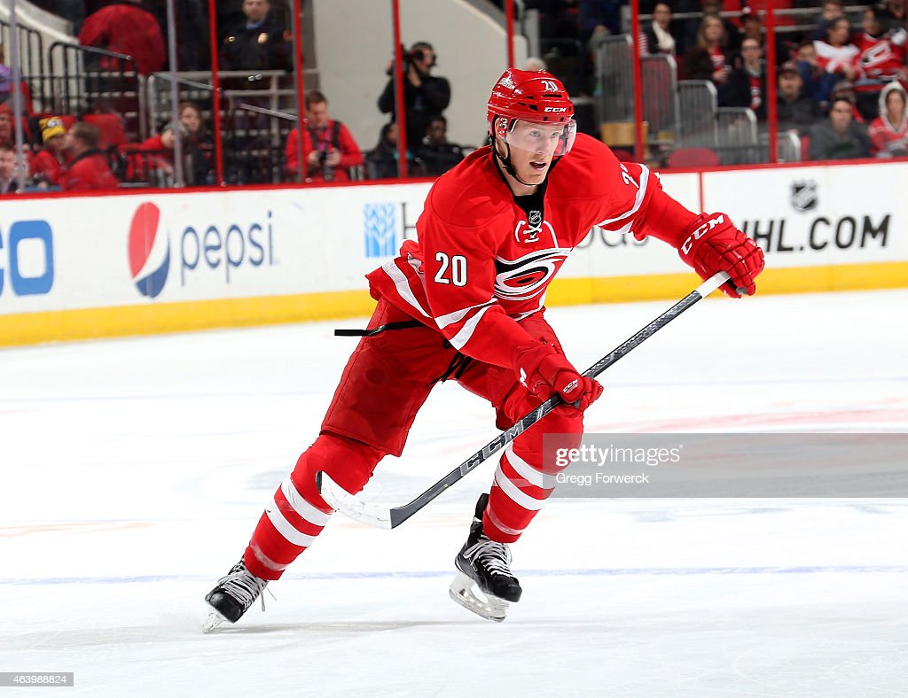 Riley Nash of the Carolina Hurricanes skates for position during an NHL game against the Toronto Maple Leafs at PNC Arena on Febuary 20 2015 in...