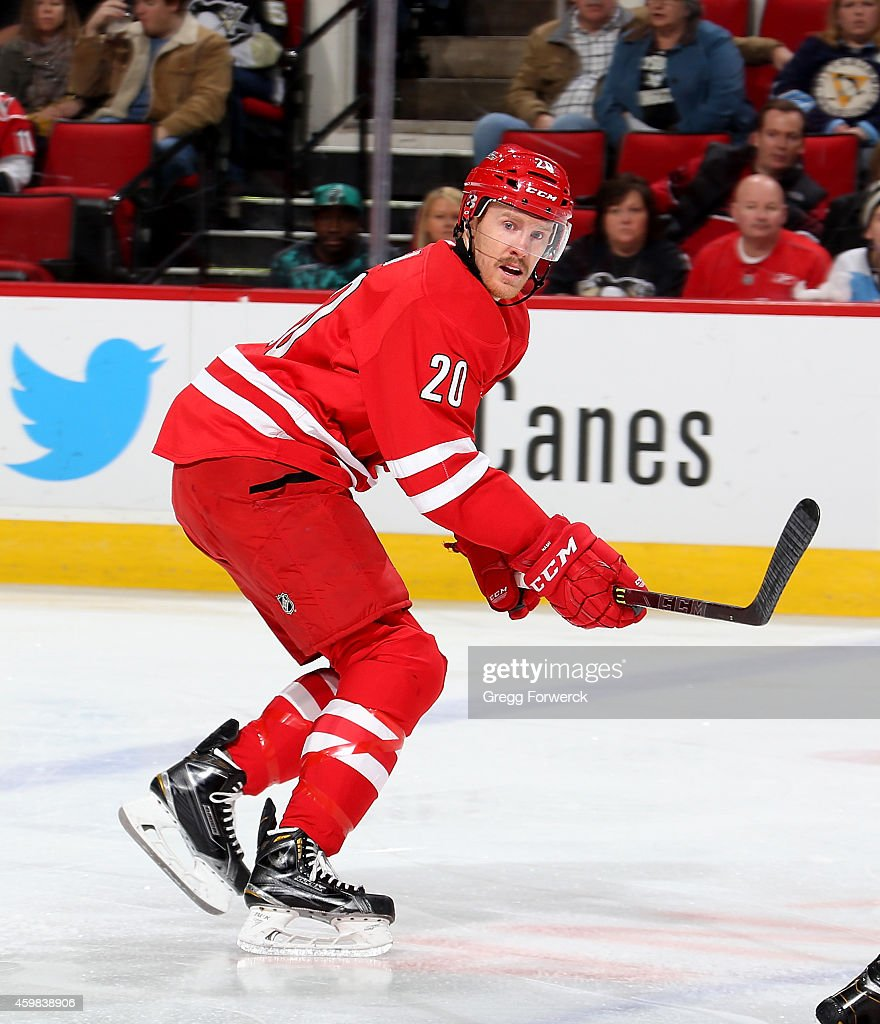 Riley Nash of the Carolina Hurricanes skates for position on the ice during their NHL game against the Pittsburgh Penguins at PNC Arena on November...