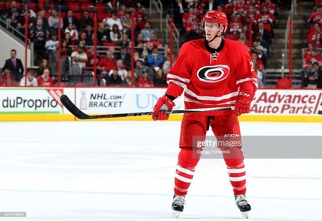 Riley Nash of the Carolina Hurricanes skates for position on the ice during an NHL game against the Montreal Canadiens at PNC Arena on April 7 2016...