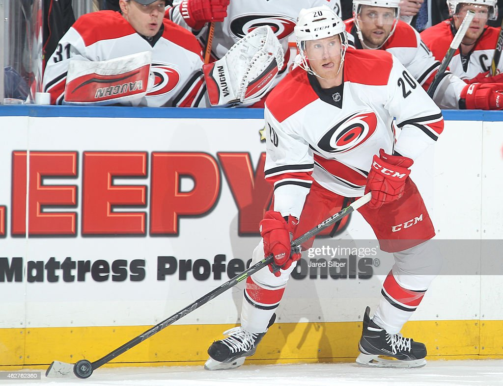 Riley Nash of the Carolina Hurricanes skates with the puck against the New York Rangers at Madison Square Garden on January 31 2015 in New York City...