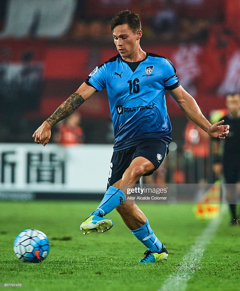 Riley Paul Woodcock of Sydney FC in action during the AFC Asian Champions League match between Guangzhou Evergrande FC and Sydney FC at Tianhe Stadium on May 3, 2016 in Guangzhou, China.