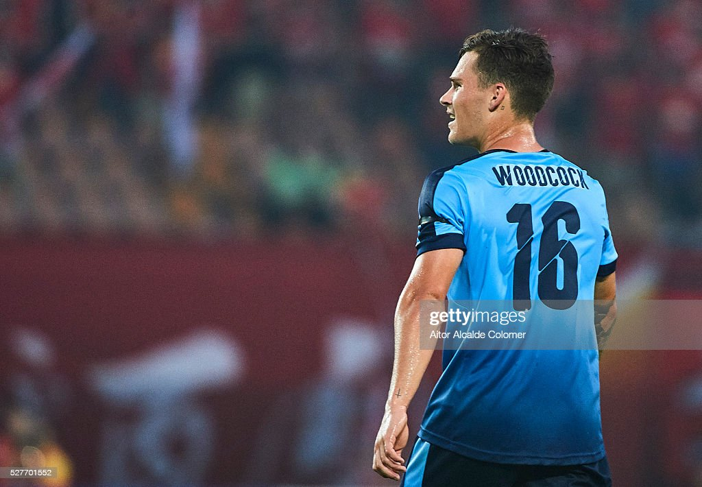 Riley Paul Woodcock of Sydney FC looks on during the AFC Asian Champions League match between Guangzhou Evergrande FC and Sydney FC at Tianhe Stadium on May 3, 2016 in Guangzhou, China.