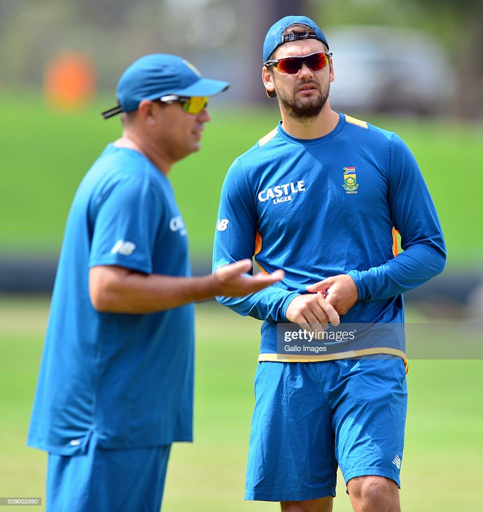 Riley Rossouw during the South African national cricket team training session and press conference at SuperSport Park on February 08, 2016 in Pretoria, South Africa.