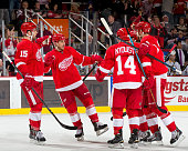 Riley Sheahan Gustav Nyquist Jakub Kindl and Tomas Tatar of the Detroit Red Wings congratulate teammate Stephen Weiss after scoring a powerplay goal...