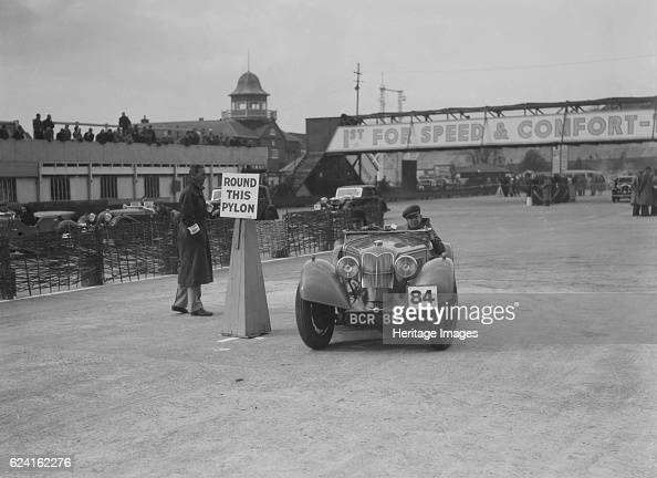 Riley Sprite of Kay Hague competing in the JCC Rally Brooklands Surrey 1939 Artist Bill BrunellRiley Sprite 1938 1496 cc Vehicle Reg No BCR810/ Event...