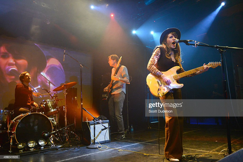 Rilo Kiley band members including drummer Jason Boesel, bass player Pierre de Reeder and Jenny Lewis reunite for a performance on stage at the Fun Lovers Unite! A Benefit for Moms Demand Action at the Echoplex on November 18, 2014 in Los Angeles, California.