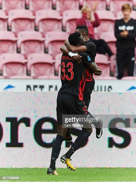 Rilwan Hassan and Paul Onuachu of FC Midtjylland celebrate after scoring their second goal during the Danish Alka Superliga match between FC...