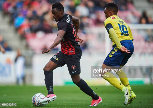 Rilwan Hassan of FC Midtjylland and Lebogang Phiri of Brondby IF compete for the ball during the Danish Alka Superliga match between FC Midtjylland...