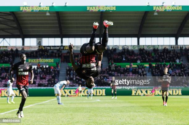 Rilwan Hassan of FC Midtjylland celebrates after scoring their second goal during the Danish Alka Superliga match between FC Midtjylland and...