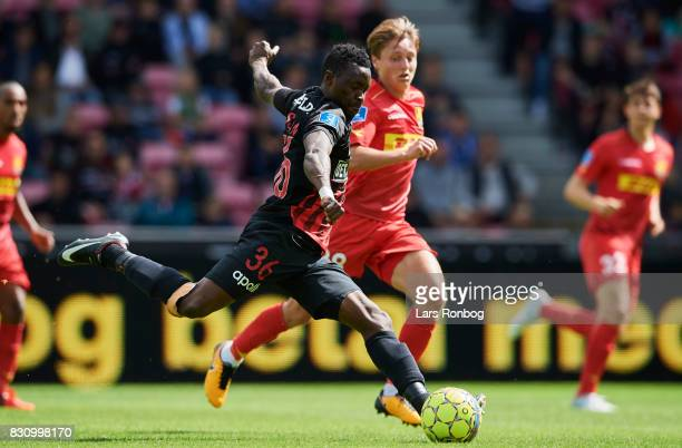 Rilwan Hassan of FC Midtjylland in action during the Danish Alka Superliga match between FC Midtjylland and FC Nordsjalland at MCH Arena on August 13...