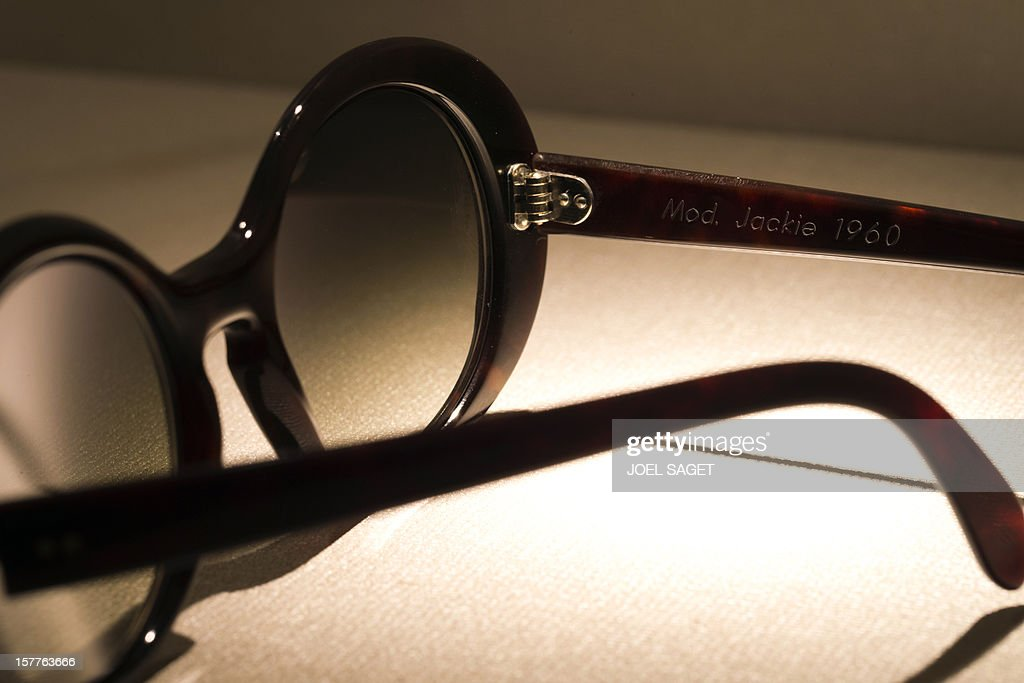 A rim glasses design Jackie Kennedy made by the Maison Bonnet is displayed at the group's store in Paris on December 6, 2012. AFP PHOTO / JOEL SAGET