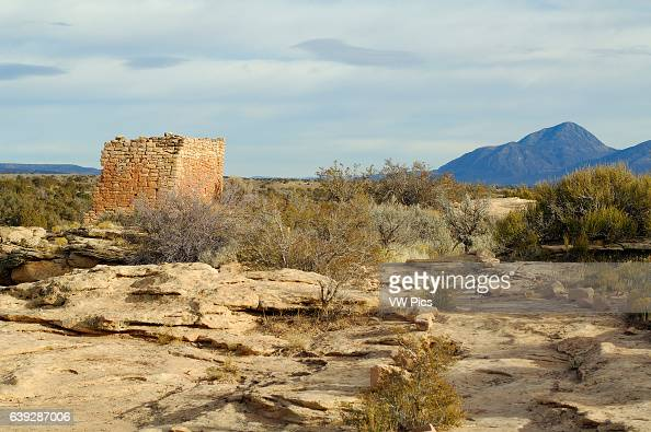 Rim Rock House and Sleeping Ute Mountain Anasazi Hisatsinom Ancestral Puebloan Site Square Tower Settlement Little Ruin Canyon Hovenweep National...