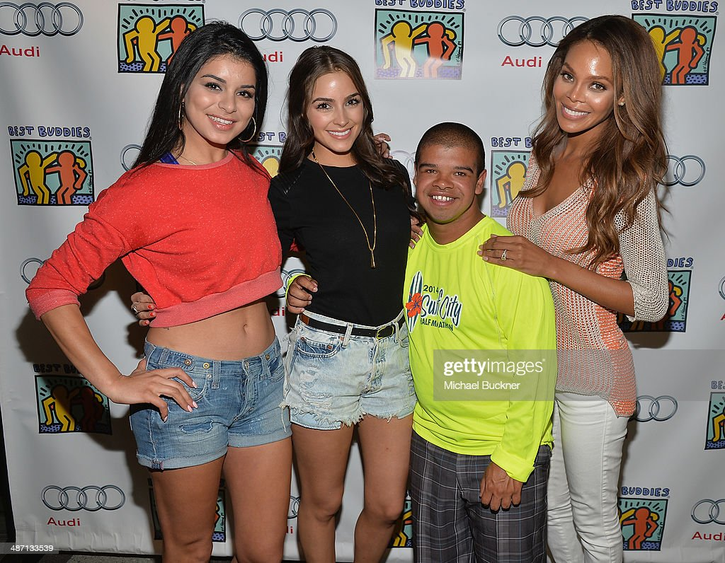 Rima Fakih, Olivia Culpo, Calvin Carrillo and Crystle Stewart attend Audi Best Buddies' Bowling For Buddies at Lucky Strike Lanes at L.A. Live on April 27, 2014 in Los Angeles, California.