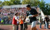 Juventus' goalkeeper Gianluigi Buffon enters in the field prior their first Italian Serie B match Rimini vs Juventus at Rimini 's stadium 09...