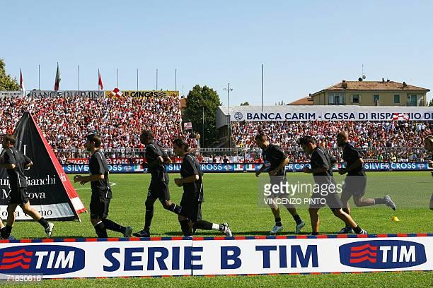 Juventus' players warm up prior to their first Italian Serie B match Rimini vs Juventus at Romeo Neri stadium 09 September 2006 Juventus were...