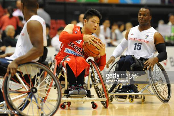 Rin Kawahara of Japan in action during the Wheelchair Basketball World Challenge Cup match between Great Britain and Japan at the Tokyo Metropolitan...